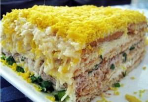 Салат из рыбной консервы (слоеный)